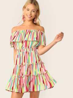 Foldover Front Off Shoulder Frill Trim Striped Dress