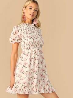 Floral Print Mock Neck Ruffle Trim Shirred Dress