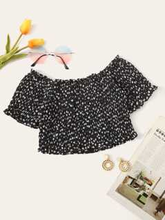 Ditsy Floral Frill Trim Shirred Crop Top