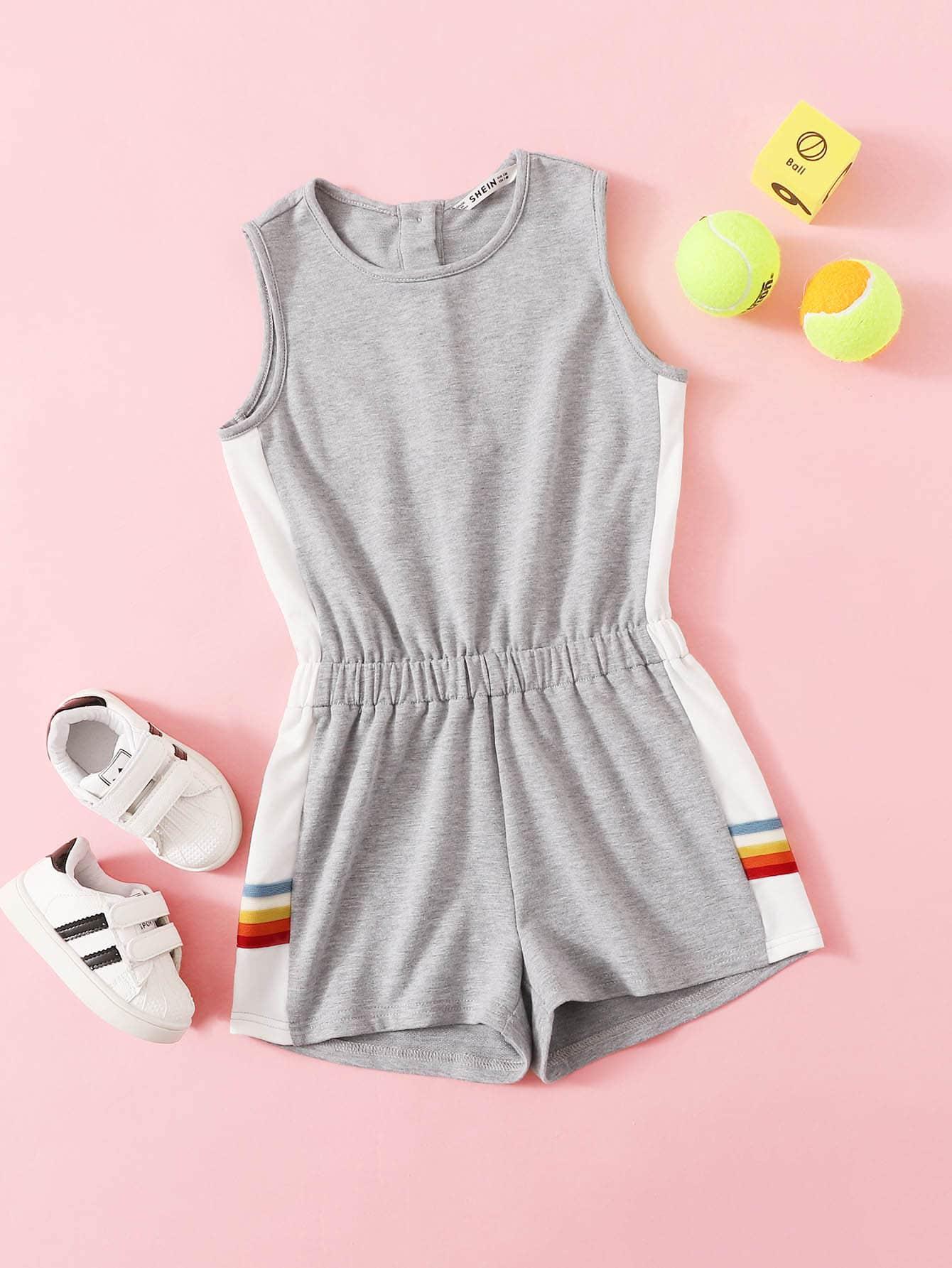 Фото - Полосатый Серый Комбинезоны для девочек от SheIn серого цвета