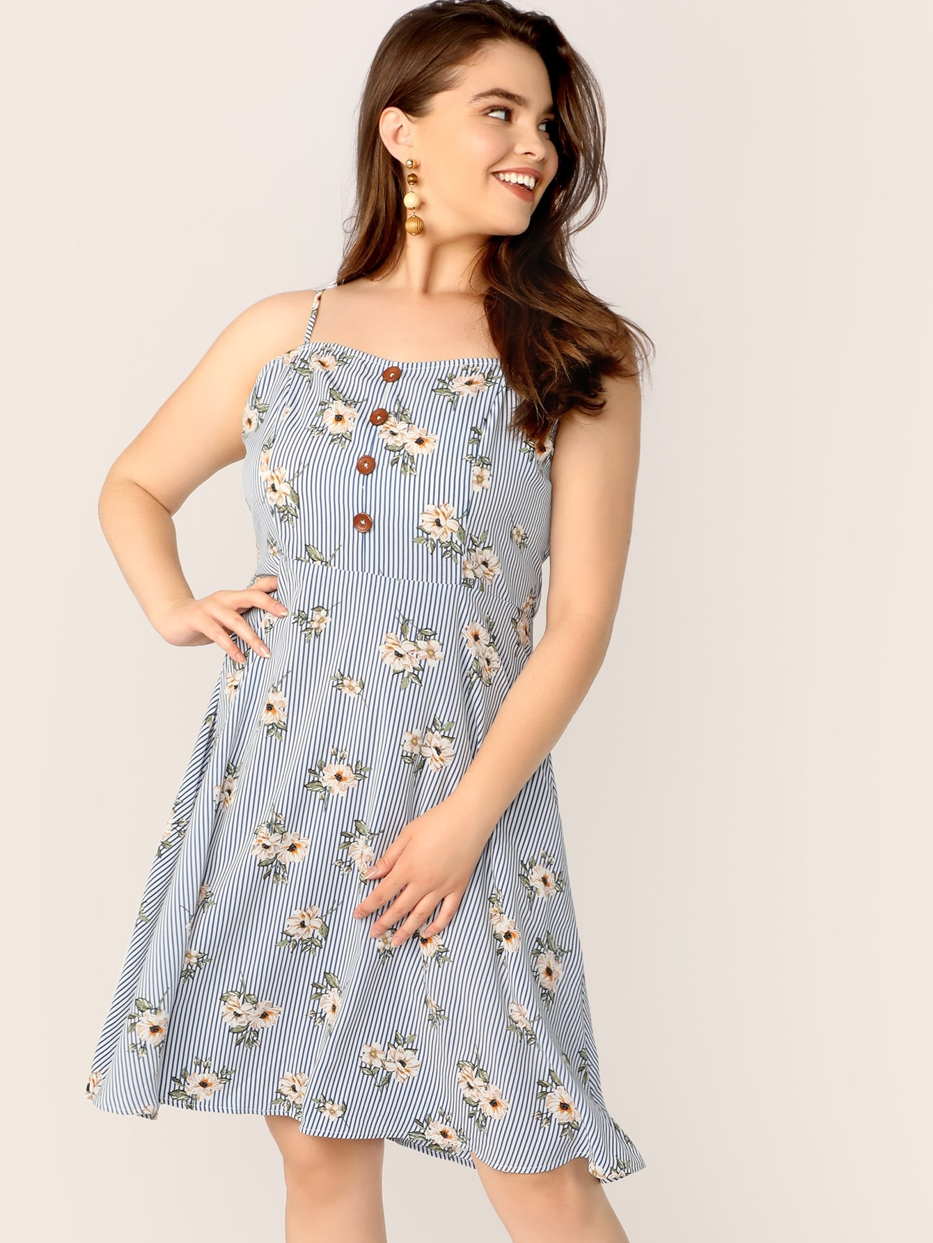 богимский Цветочный Пуговица Синие Платья размера плюс