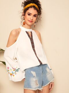 Cold Shoulder Embroidered Flower Aztec Top