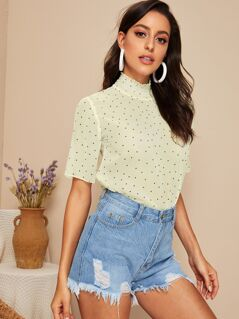 Polka-dot Print Shirred Neckline Top