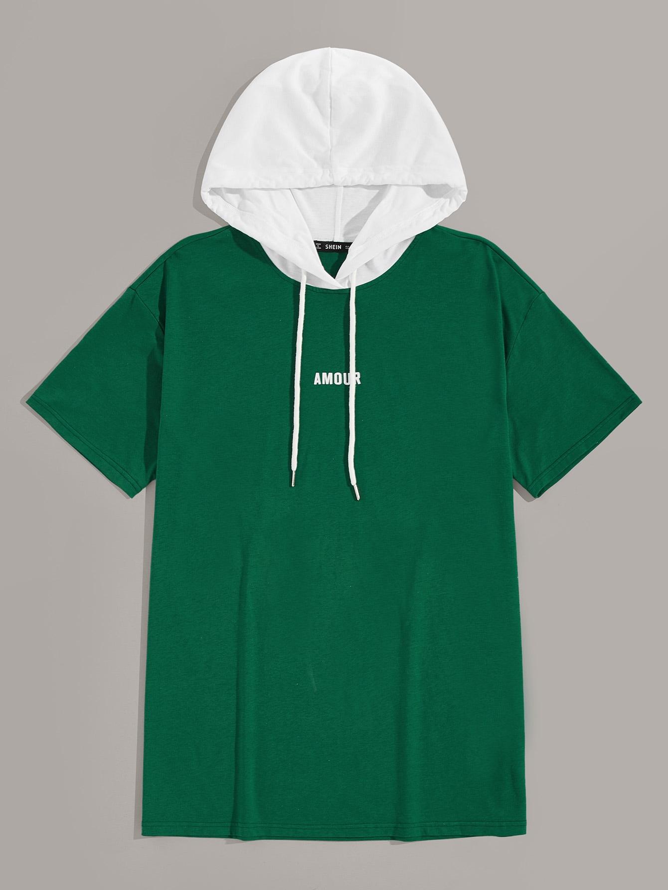 Фото - Мужская футболка с капюшоном и текстовым принтом от SheIn цвет зелёный