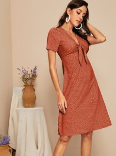 Polka-dot V Neck Knotted Front Dress