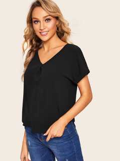 Fold Pleat Neck Dolphin Hem Top