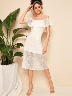 Off Shoulder Lace Overlay Dress