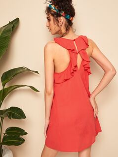 Solid Ruffle Trim Sleeveless Dress