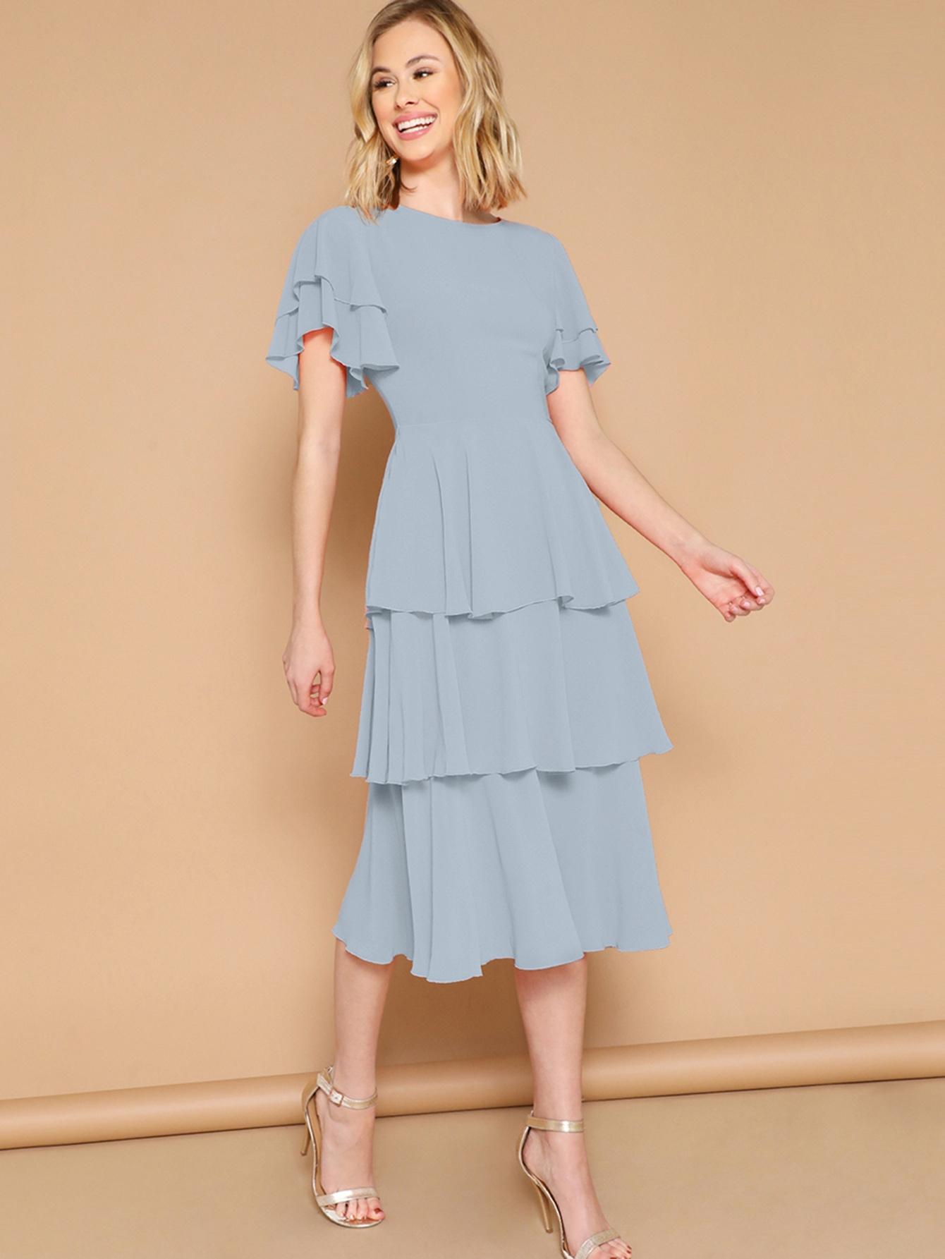 Фото - Элегантный стиль Одноцветный Синие Платья от SheIn цвет синие