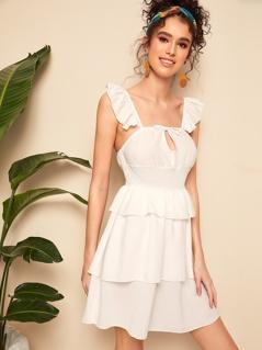Layered Ruffle Hem Shirred Fit & Flare Dress