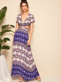 Deep V Neck Peekaboo Aztec Print Maxi Dress