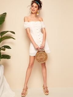 Off Shoulder Button Front Schiffy Dress