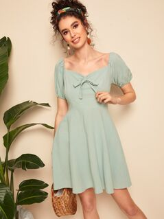 Sweetheart Neck Shirred Skater Dress