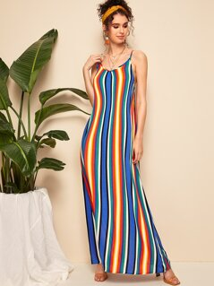 Colorful Striped Maxi Slip Dress