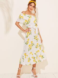 Lemon & Polka-dot Ruffle Hem Bardot Belted Dress