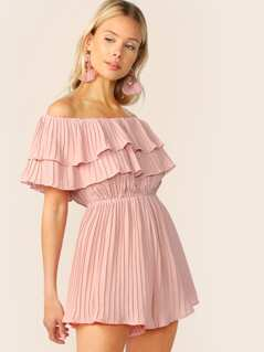 Off Shoulder Layered Pleated Ruffle Trim Romper