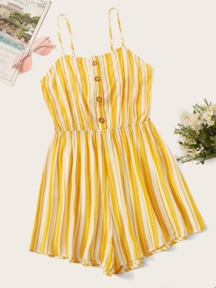 Button Front Tie Back Striped Tank Romper