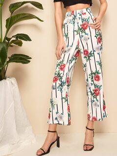 Striped & Flower Wide Leg Pants