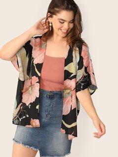 Plus Floral Print Batwing Sleeve Kimono