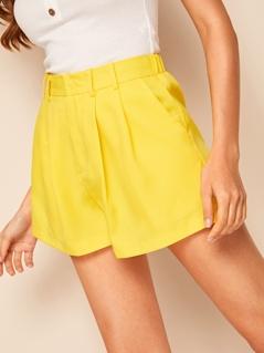 Solid Slant Pocket Shorts