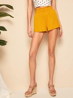 Solid Ruffle Waist Shorts