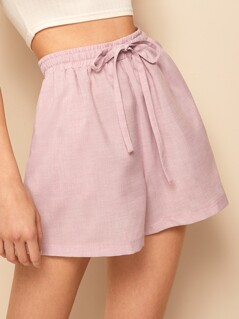 Drawstring Waist Wide Leg Shorts