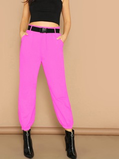 Neon Pink Elastic Hem Pants With Push Buckle Belt