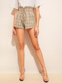 Corset Paperbag Waist Plaid Shorts