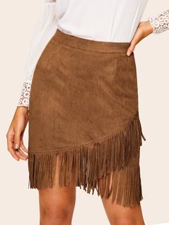Asymmetrical Fringe Trim Wrap Suede Skirt