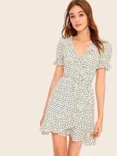 Drawstring Waist Confetti Heart Print Ruffle Wrap Dress