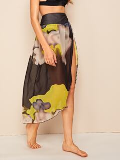 Shirred Waist Split Thigh Abstract Print Sheer Mesh Skirt