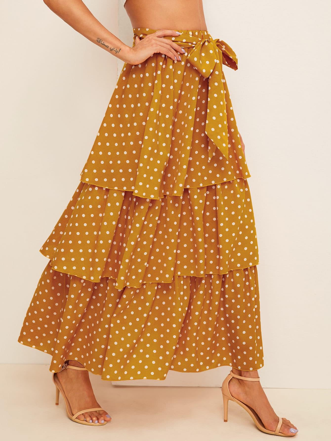 Фото - Юбку в горошек с поясом от SheIn желтого цвета
