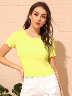 Neon Yellow Scallop Edge Rib-knit Tee