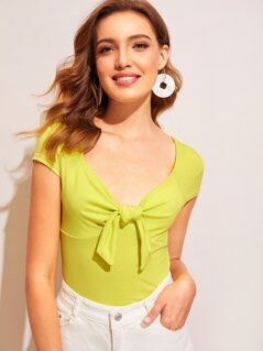 Neon Yellow Knot Front Top