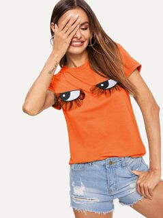 Neon Orange Embroidered & Mesh Eyes Patch Tee