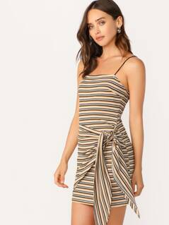 Colorblock Striped Tie Front Side Bodycon Slip Dress