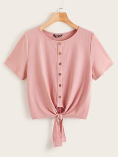 Button Front Knot Hem Ribbed Tee