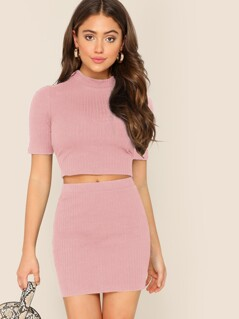 Mock-neck Rib-knit Crop Top and Bodycon Skirt Set