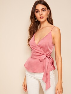 Surplice Wrap Belted Satin Peplum Cami Top
