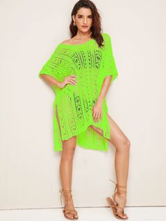 Neon Green V Neck Slit Hem Crochet Cover Up