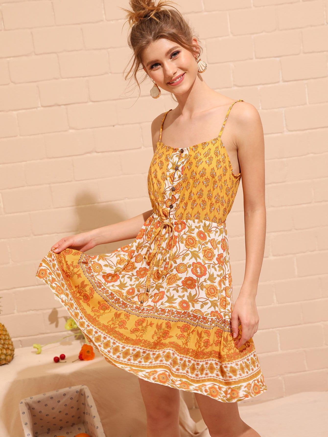 Фото - богимский цветочный Жёлтые Платья от SheIn цвет жёлтые