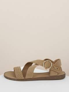 Woven Band Overlap Straps Buckled Side Sandals
