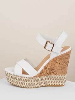 Overlap Band Cork Platform Wedge Sandals