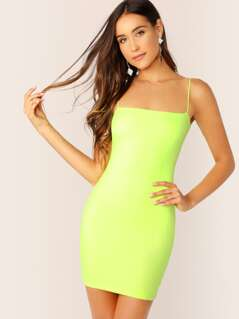 Straight Neck Double Jersey Knit Neon Tank Dress