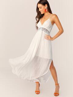 V-Neck Lace Back Cut Out Sleeveless Maxi Dress