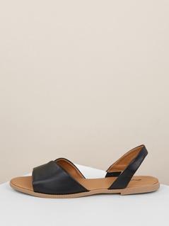 Asymmetric Band Slingback Flat Sandals