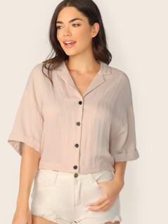 V-Neck Button Front Cuffed Sleeve Oversized Shirt