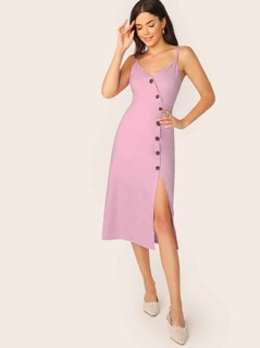 Asymmetric Button Front V-Neck Sleeveless Dress