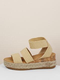 Basket Weave Raffia Straps Flatform Sandals