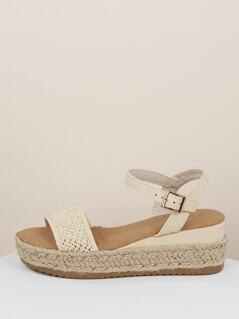 Woven Raffia Band Jute Trim Flatform Sandals